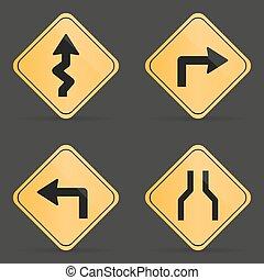 ensemble, signe, arrière-plan noir, orange, route
