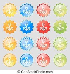 ensemble, signe., coloré, 16, électricité, grand, énergie, moderne, boutons, vecteur, vert, icône, ton, design.