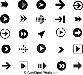 ensemble, signe, icône flèche
