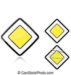 ensemble, -, signe, variantes, route principale