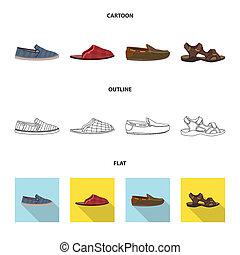 ensemble, signe., web., bitmap, conception, chaussures, pied, chaussure, symbole, stockage