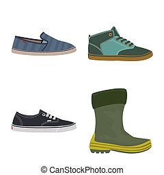 ensemble, signe., web., illustration, bitmap, chaussures, pied, chaussure, symbole, stockage