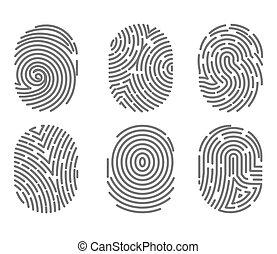 ensemble, signes, lignes, isolé, tordu, empreinte doigt, types