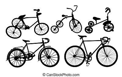 ensemble, silhouette, bike.