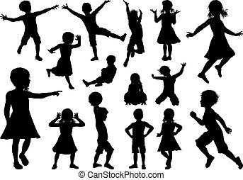 ensemble, silhouette, enfants