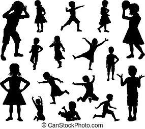 ensemble, silhouette, enfants, gosses