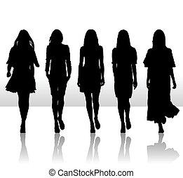 ensemble, silhouette, filles, isolé, illustration, unique, vecteur, icône