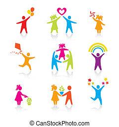 ensemble, silhouette, gens, gosse, homme, icônes, -, symbole., garçon, femme, girl, parents, père, vector., family., mère, enfant