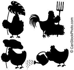 ensemble, silhouette, poulet