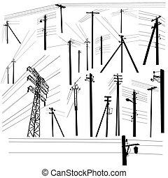 ensemble, silhouette, pouvoir revêt, élevé, pylône, tension
