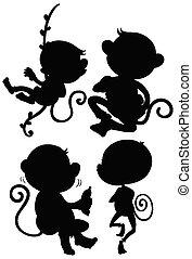 ensemble, silhouette, singe