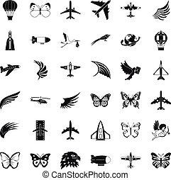 ensemble, simle, style, fusée, icônes