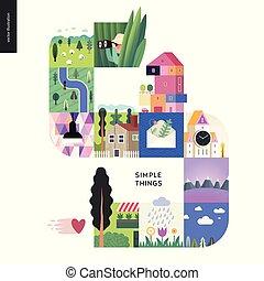 ensemble, simple, choses, -, couleur, composition