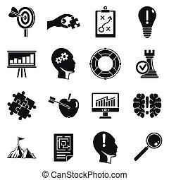 ensemble, simple, décision, style, icône