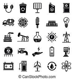 ensemble, simple, style, écologie, icône