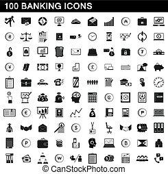 ensemble, simple, style, banque, icônes, 100