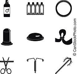 ensemble, simple, style, contraception, icône