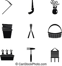 ensemble, simple, style, jardin, icône