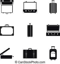 ensemble, simple, style, serviette, icône