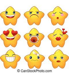 ensemble, smileys, étoiles