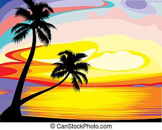 ensemble, soleil, île