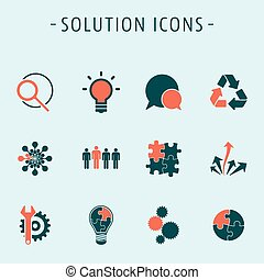 ensemble, solution, icônes