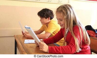 ensemble, sourire, fonctionnement, élèves