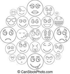 ensemble, sourire, style, contour, icône