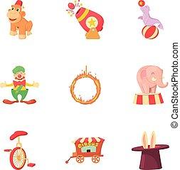 ensemble, style, cirque, dessin animé, icônes
