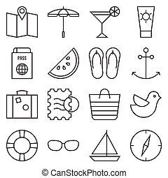 ensemble, style, contour, camping, icône