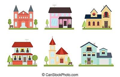 ensemble, style., différent, maisons pays, jardin, plat, arbres., dessin animé, vecteur, illustration
