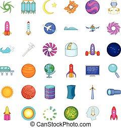ensemble, style, empreinte doigt, dessin animé, icônes