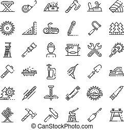 ensemble, style, icônes, contour, charpentier