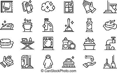 ensemble, style, icônes, contour, ménage