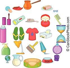 ensemble, style, ménage, dessin animé, icônes