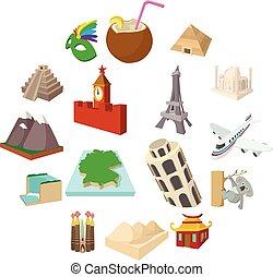 ensemble, style, tourisme, dessin animé, icône
