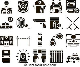 ensemble, surveiller service, glyph, vecteur