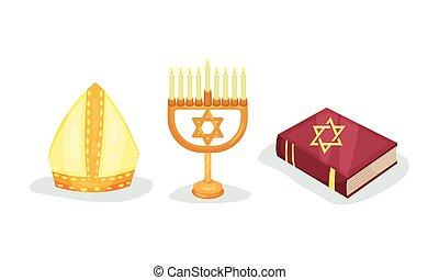 ensemble, symboles, juif, chrétien, vecteur, religion, divers