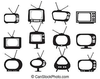 ensemble télé, noir, retro, icônes
