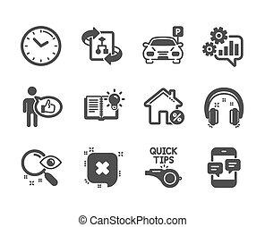 ensemble, téléphone, maison, icônes technologie, temps, vecteur, prêt, messages., tel