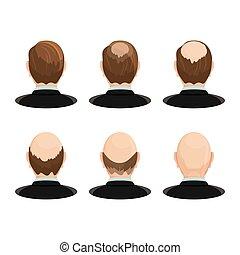 ensemble, têtes, alopécie, concept., hairloss, progress., projection