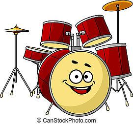 ensemble, tambour, grand, rire, sourire, avoir, heureux