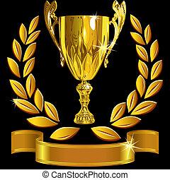 ensemble, tasse, reussite, or, couronne, enjôleur, vecteur, arrière-plan noir, laurier, brillant, ruban