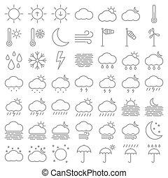ensemble, temps, icônes, ligne, vecteur