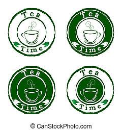 ensemble, thé, isolé, timbres, vecteur, fond, temps, blanc