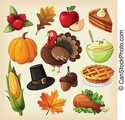 ensemble, thanksgiving, icônes