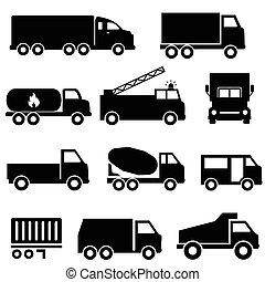 ensemble, transport, camions, icône