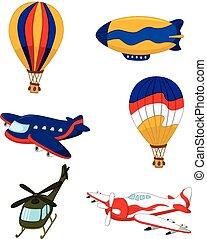 ensemble, transport, dessin animé, air