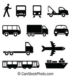 ensemble, transport, icône