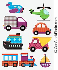 ensemble, transport, jouets
